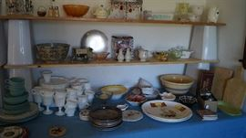 Milk glass, Pyrex, Crock bowl, platters, cutting boards, cake stand,