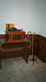 table, canes, stereo