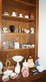dried apple dolls, milk glass, decor