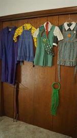 vintage girl clothing including Girl Scout uniform