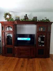 Large Solid Wood Entertainment Wall Unit  Fri. $600 Best Offer! Sat. 50% Off or Best Offer. Cash or Card!