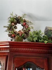 Wreath in case decor