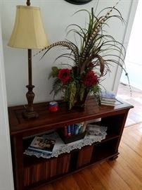 Two tiered shelf, beautiful Mitchell Designs floral arrangement, accent lamp. Fri and Sat. Discounts!