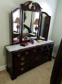 Full size dresser with tri-fold mirror. Take it home Fro. 25% Off, Sat. 50% Off.