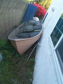 Sears 12' fishing boat with trailer, motor and fuel tank along with 2 oars. Available for pre sale Robert 714 499 4199.