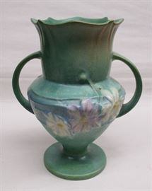 A green Rosvillle Art Pottery vase, Cosmos pattern. Unsigned.