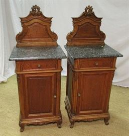PAIR OF AUSTRIAN MARBLE TOP NIGHT STANDS