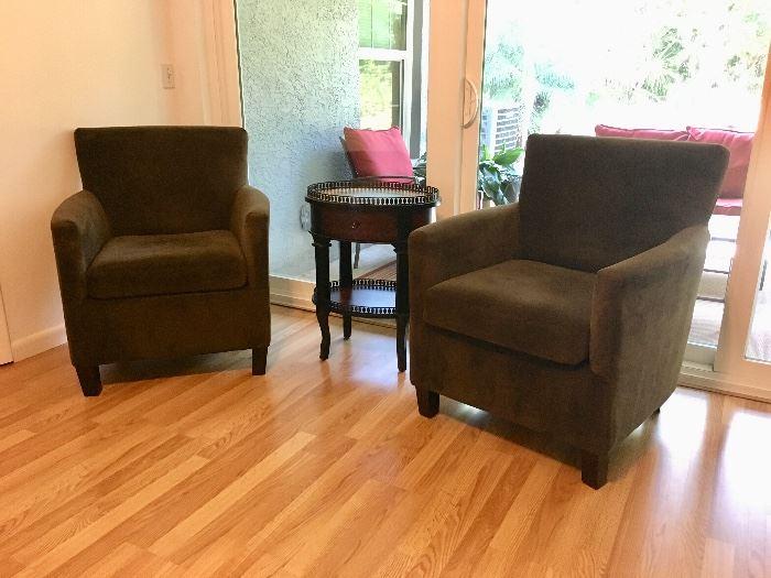 Pair Microfiber Chairs