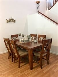 Expandable Dining Table. Two additional chairs not shown.