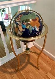 Inlaid Gemstone Floor Globe
