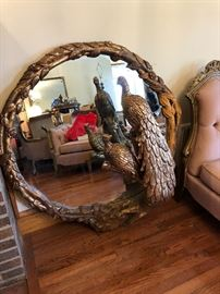 Spectacular three dimensional Mirror with peacock pair. Needs a little love but what a look!!!