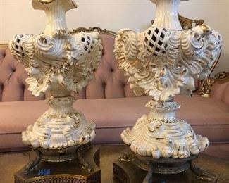 Pair of classic gold on white lamps
