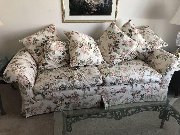 Marshall Fields Floral overstuffed sofa