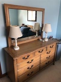 Vintage 9 drawer dresser with mirror