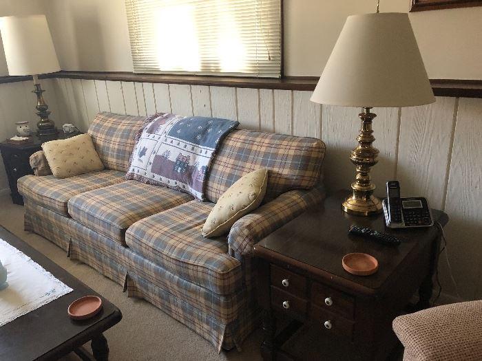 Plaid sofa, yellow/blue