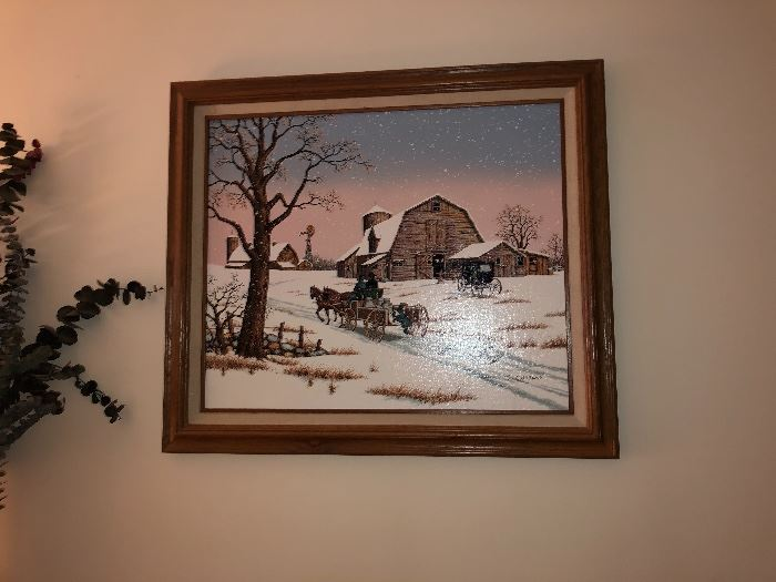 Winter scene signed oil painting