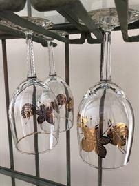 Gold leaf wine glasses, vintage