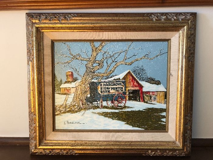HARGROVE Sign Painter/Barn signed oil