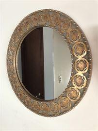 "Round ornate mirror, approx. 24"""