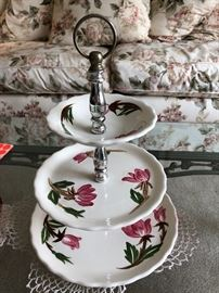 American Beauty china 3-tiered serving dish