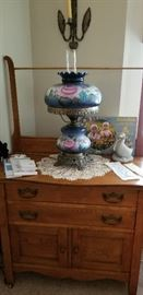 ANTIQUE COMMODE  --  VICTORIAN LAMP