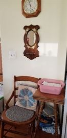 4 CANED CHAIRS   --  SMALL OAK PLANT STAND  --  LARGE SILVERWARE SET