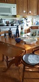 SMALL   WOODEN DROP LEAF KITCHEN TABLE  --  SWEDISH DECOR