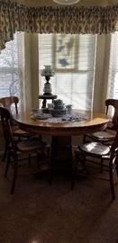 OAK PEDESTAL TABLE   --  4 CANED CHAIRS        HAVILAND CHINA