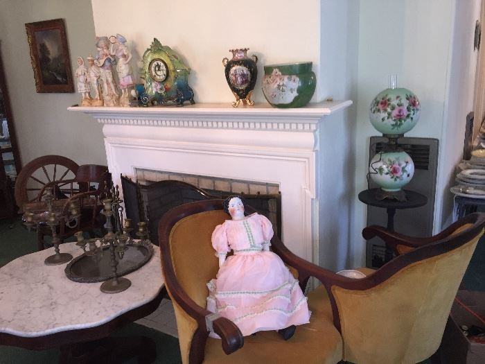 French clock and FINE porcelain figurines
