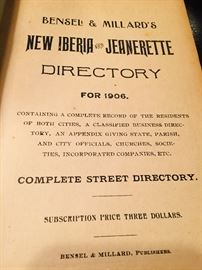 TONS of early paper ephemera and fine books--This is the 1906 New Iberia/ Jeanerette city directory