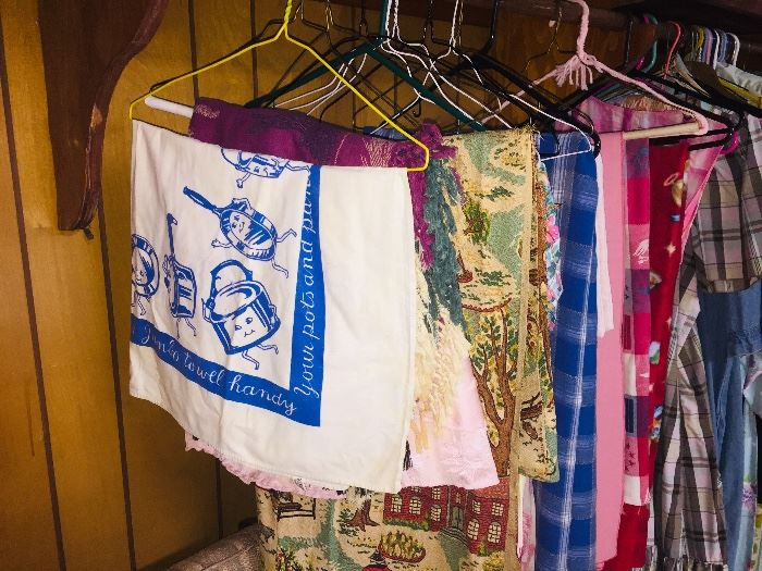 tablecloths, bark cloth, quilts, chenille bedspreads--etc etc