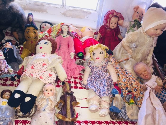 this is just a small section of the vintage toy room--we have toys from 19th century up to the 1950's
