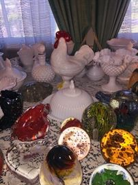 paperweights and milk glass section--lots of milk glass chickens!