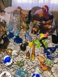 here's the bird section--Turkeys, chickens, pheasants, bluebirds, etc.