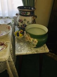 painted early porcelain urns, jardinières, and wash basins