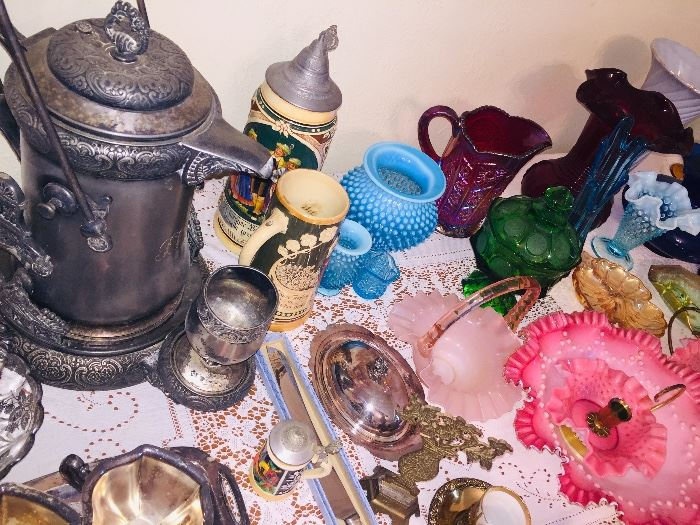 colored glassware, beer steins, and 19th century silverplate