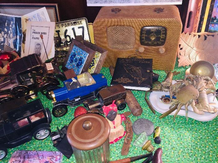 early radios, phonographs, keys, pipes, license plates, tools etc