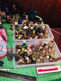 our pre WW 2 miniature bottle collection with OLD advertising items