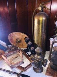 brass fire extinguisher and lantern