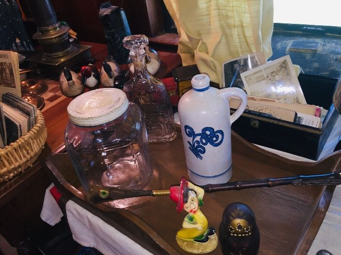 early jars, crocks, vintage plaster figures, 19th-early 20th c postcards, letters, stamps etc etc