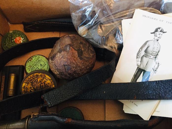 Civil War items including mini balls, powder belt, bullets, black powder tins, and a musket tool