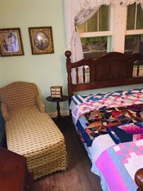 1950's chaise lounge, lots of early 19th c. prints and notice the quilts--We have a fabulous early 20th c. friendship quilt that features names and dates.  Maybe your ancestor is on that quilt