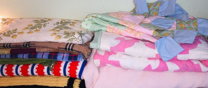 quilts and crocheted throws