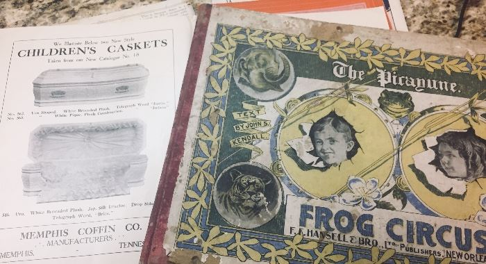 Paper ephemera and early book TONNAGE--Pictured is a 1911-1913 collection of funeral directors trade magazines and a 1903 Times Picayune book featuring children's photos from across South Louisiana (you'll recognize the last names)