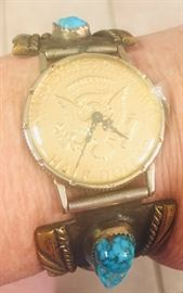 """Navajo """"Old Pawn"""" chunk Turquoise watch"""