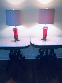 Pair of Ruby Red lamps and lovely matching marble topped parlor tables