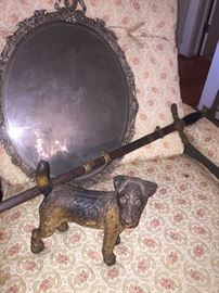 mid 19th century beveled mirror, early cast iron door stop, and 100 plus year old fraternal sword
