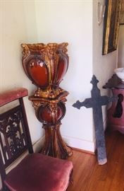 Majolica Jardinière, kneeling bench, and early iron cross (plus we have an 1859 French Bible)