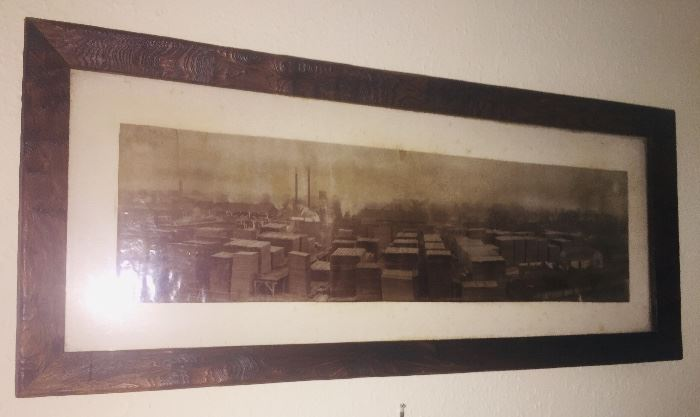 19c photo of Jeanerette Lumber and Shingles  Mill in an original hand carved Cypress frame