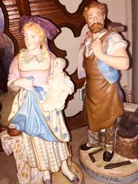 Several early German and French porcelain figurines